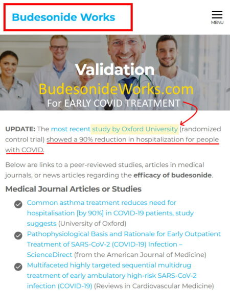 Budesonide - early treatment for COVID-19