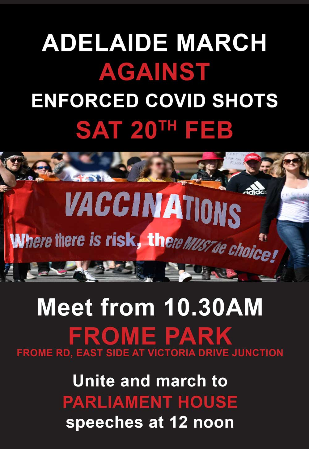 Rally Against Enforced COVID Shots flyer