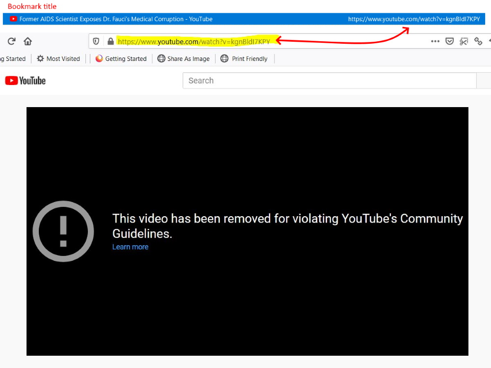 Bookmarked video has been deleted