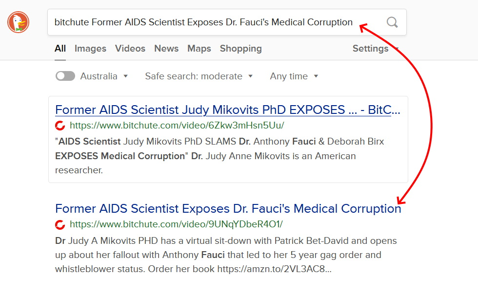 Look for the title in the search results