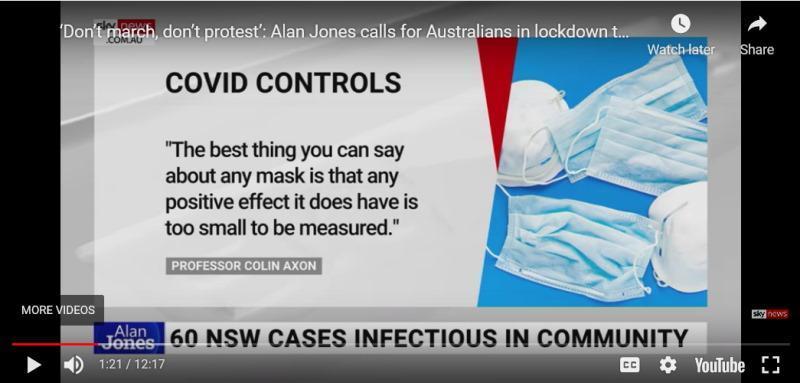 Alan Jones reports about masks on Sky News Australia