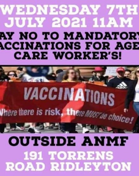 ANMF Pop Up Rally - Say NO to mandatory vaccinations for aged care workers and nurses